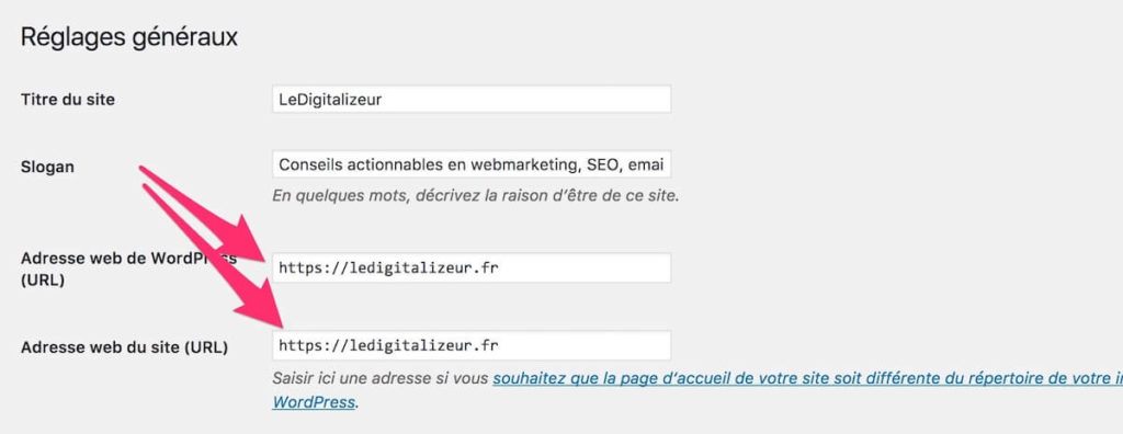 WordPress reglages HTTPS LeDigitalizeur
