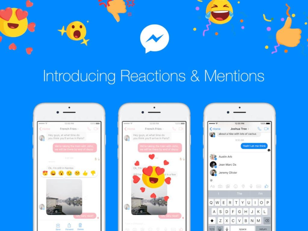 messenger reactions Facebook - LeDigitalizeur