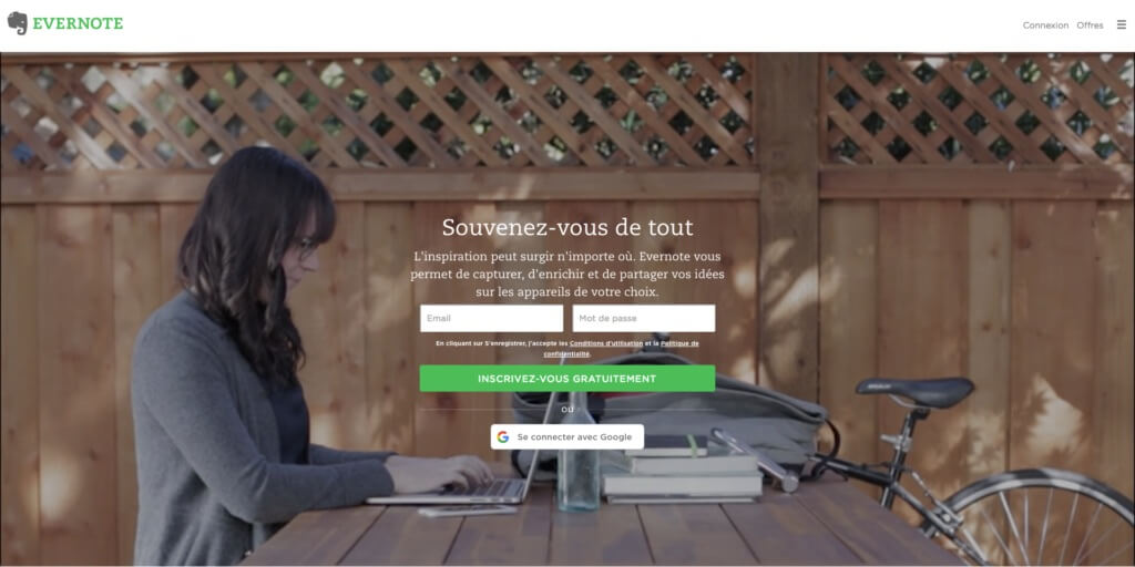 landing page evernote