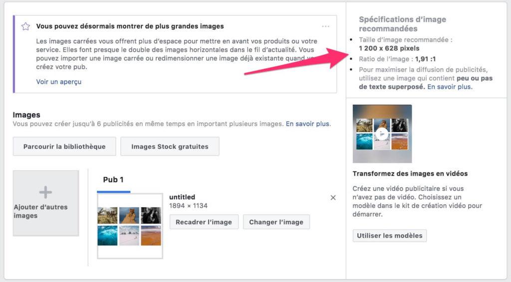 format image facebook ads