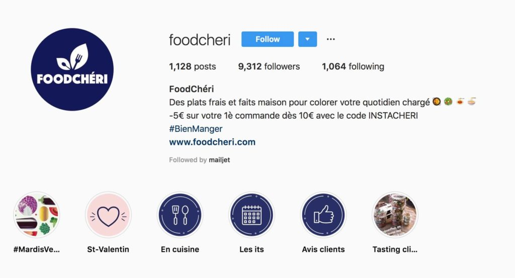 exemple bio instagram foodcheri