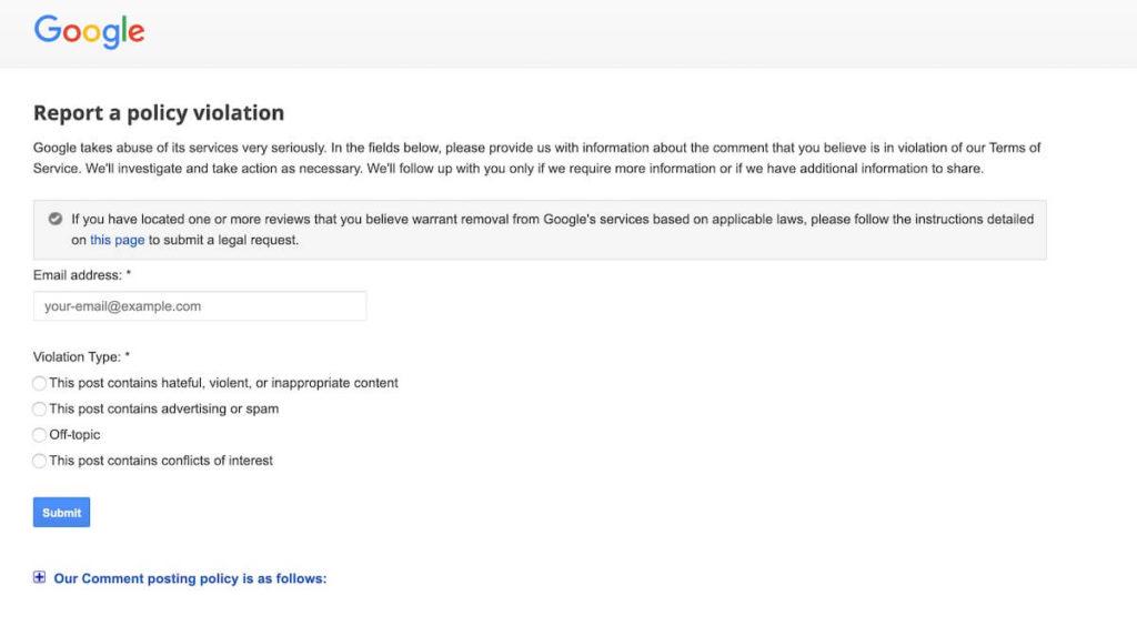 faux avis google