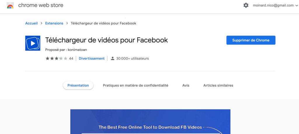 Télécharger vidéo facebook avec extension