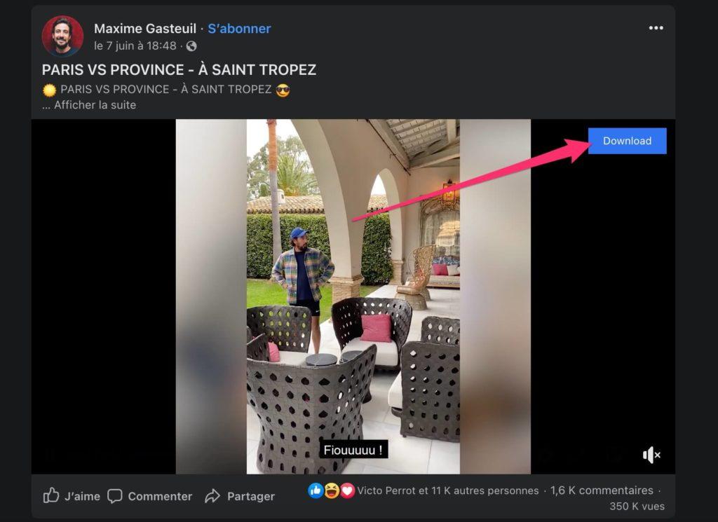 Enregistrer video facebook extension